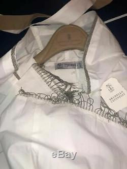 Nwt Brunello Cucinelli Hooded Dress Jacket With Monili Fringe, Belt, 36, Small