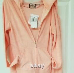 Nwt Juicy Couture Terry Tracksuit Set Pants And Hooded Jacket Zip Up, S, Peach