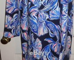 Nwt Lilly Pulitzer Bright Navy In Reel Life Upf 50+ Skipper Dress XL
