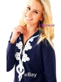 Nwt Lilly Pulitzer Hooded Skipper Popover Dress Upf 50+ True Navy Sz L