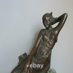 Original 1920s Bronze Car Mascot woman in a flowing dress Hood Ornament French