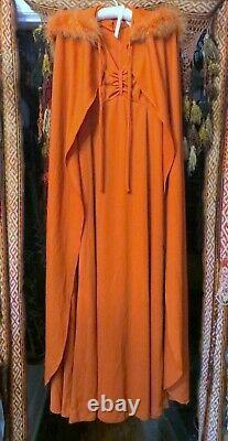 Oscar Worthy 1960s/70s Burnt Orange Dress withMatching Cape Maribou Trimmed Hood