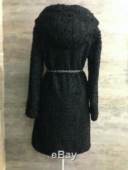 Out of Time! Auth Rare Stunning GUCCI Black Persian Lamb Karakul Hooded Fur Coat