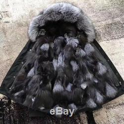 P4 real fox fur Vulpes lining hood woman parka coat vest