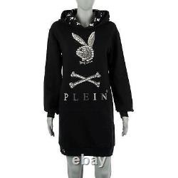 PHILIPP PLEIN X PLAYBOY Crystals Bunny Jogging Day Dress Hoodie Black 08677
