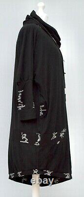 PLUS SIZE KEKOO BLACK ASYMMETRICAL SHAWL COLLAR DRESS/TUNIC BUST 50-52 Size XL