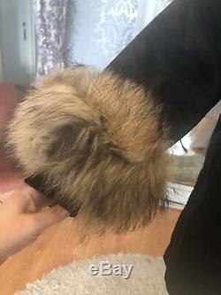 PU7 real fur rabbit lining procyon raccoon hood woman parka coat plus size