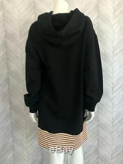 PUBLIC SCHOOL Activewear Hoodie Dress Aza Zita Sweatshirt Striped Hem Black S/M
