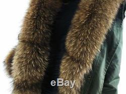 Parka real fur Nyctereutes procyon Hood and placket rabbit fur lined Winter Coat
