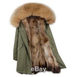 Parka real raccoon fur Nyctereutes procyon Hood with raccoon fur lining
