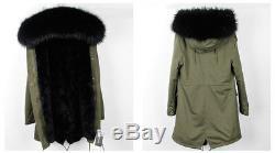 Parka real racoon fur Nyctereutes procyon Hood with real rabbit fur lining