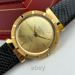 Pierre Le Blanc Automatic Men's Gold Dress Watch with Hooded Lugs Mint 34mm SWISS