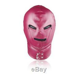 Pink Leather Mask fancy dress Hood, shiny, zips on eyes and mouth. Gimp mask