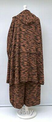 Plus Size 2 Pcs Hooded A-line Jacket+balloon Trousers/pantsblack/brick Xl-xxl
