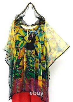 Plus Size 2 Pcs Mesh Hooded Overtop/poncho+black Jersey Top Bust 48-54 L-xxl