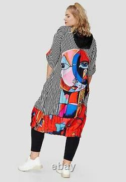 Plus Size Amazing Striped Hooded Appliqué Long Dress/jacket Bust 50-52 L-xl