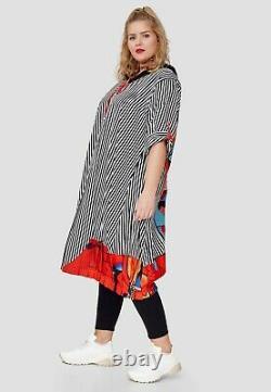 Plus Size Amazing Striped Hooded Appliqué Long Dress/jacket Bust 52-54 Xl-xxl