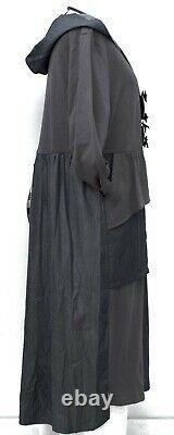 Plus Size Anthracite Jersey+blue Denim Hodded Long Dress Bust 52-54 Xl-xxl