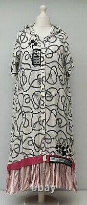 Plus Size Applique Front Buttons Hooded Long Jacket-dress Bust 48-50 XL