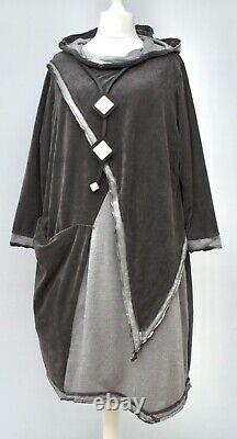 Plus Size Kekoo Anthracite/grey Irregular Hooded Dress/tunic Bust 50-54 Xl-xxl