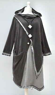 Plus Size Kekoo Anthracite/grey Irregular Hooded Dress/tunic Bust 56-58xxl-xxxl