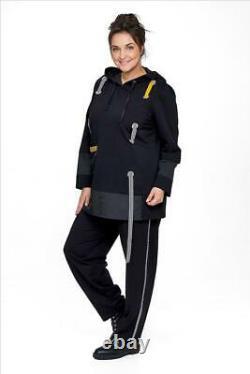 Plus Size Zedd Plus Black 2 Pcs Hooded Sweatshirt + Pants Bust 50-54 Xl-xxl