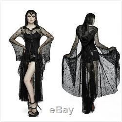 Punk-Rave Black Gothic Hooded Spider Web Sun Block Long Coat Witch Dress Y-732
