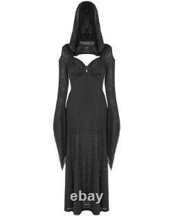 Punk Rave Gothic Hooded Witch Dress Long Black Keyhole Cutout Slit Flared Sleeve