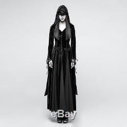 Punk Rave Gothic Witch Vampire Medieval Druid Cosplay Velvet Hooded Long Dress