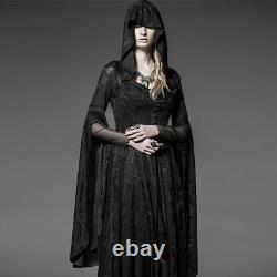 Punk Rave Sorceress Long Sleeve Gothic Hooded Dress Coat Gothic, Goth