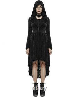 Punk Rave Womens Gothic Hooded Cloak Jacket Black Dress Coat Witch Occult Grunge