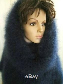 Quality Mohair Turtleneck Blu Long Vest Sweater Dress Hood Fuzzy Brushed Lycra