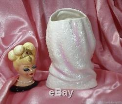 RARE INARCO LG 7 HEAD VASE LADY VINTAGE 50's LIZ TAYLOR HOODED DRESS HAND RING
