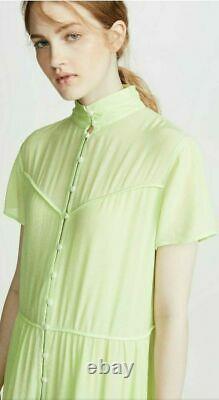 Rag & bone Libby Women's Dress XS Bright Green Gauze Short Sleeve Midi $495