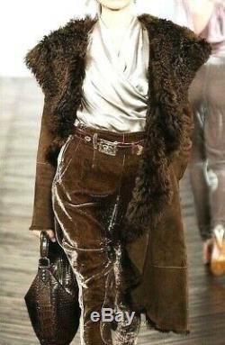 Ralph Lauren PURPLE LABEL Collection Shearling Fur Brown Dress Runway Coat US 14