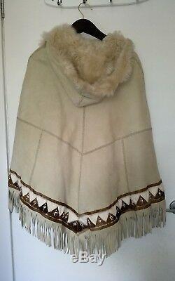 Ralph Lauren Toscana Shearling Fur Beaded Fringe Hooded Poncho Cape Jacket