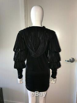 Rare Julia Clancey Uk Grace Black Hooded Drape Ruffle Mini Dress Tunic 2 Xs