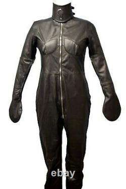 Real Leather Women Body Suit Catsuit Restricted Bondage Costume & collar, Gloves