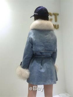 Real Vulpes Vulpes Fur Collar Coat Women Winter Jacket Detachable Denim Coat
