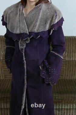 Rich Purple Full Length Shearling Dressed Coat with Hood Genuine Sheepskin size s