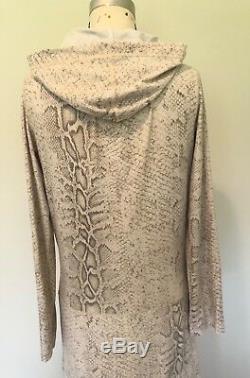 Roberto Cavalli Freedom Snakeskin Biege Long Hoody Dress. M/L