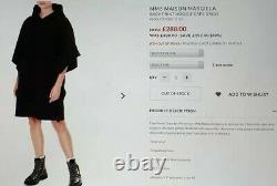 Rrp£480 New Mm6 Maison Margiela Black Cotton Hooded Printed Oversized Dress M