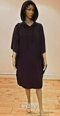 Rrp£480 New Mm6 Maison Margiela Black Cotton Hooded Printed Oversized Dress S/8