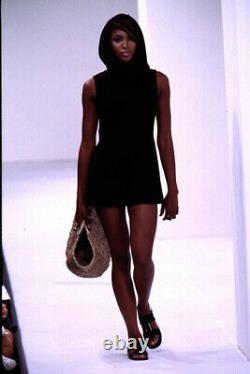 S/S 1996 Dolce & Gabbana Runway Naomi Campbell Sheer Black Hooded Mini Dress