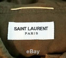 SAINT LAURENT Army Green Cotton Canvas Military Khaki Hooded Mini Dress 34 XS