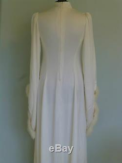 SALE. Vintage 70s Wedding Dress UK 8/10 Winter Widows Hood Cape Elven Fairytale