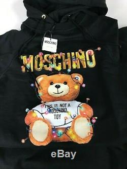 SS19 MOSCHINO COUTURE Jeremy Scott CHRISTMAS Teddy Bear Hooded Sweatshirt Dress