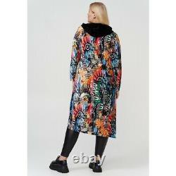STUNNING VELVET GRAFFITI MULTICOLOURED HOODED LONG DRESS BUST 48-50 Size 18-22