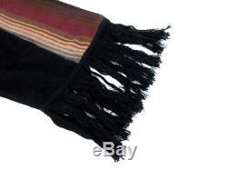 Sacai Knit Hooded Dress Size 2 Black Tribal Print Fringe Cotton Women's Japan FS