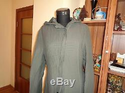 Sarah Pacini Greyish Taupe Ribbed Textured Zipped Hooded Quirky Dres Coat-size 0